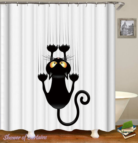 Shower Curtain of Slippery Cat
