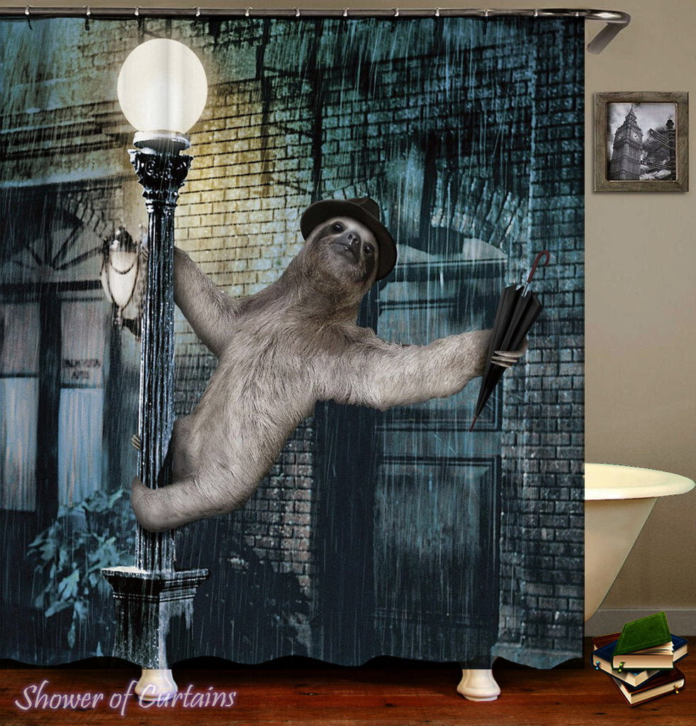 Shower Curtain of Sloth Singing In The Rain