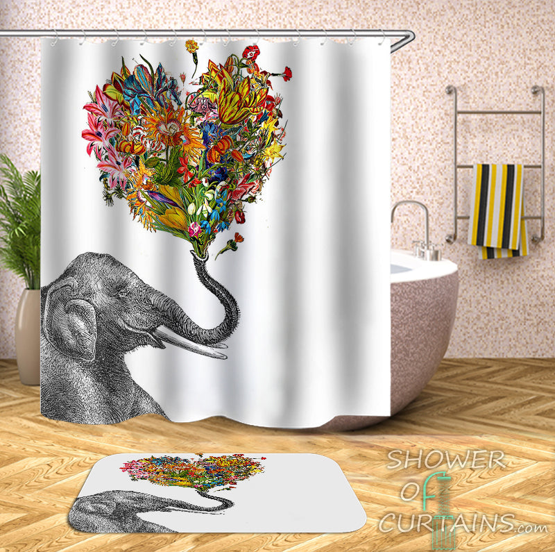 Shower Curtain of Smiling Elephant Holding A Floral Heart