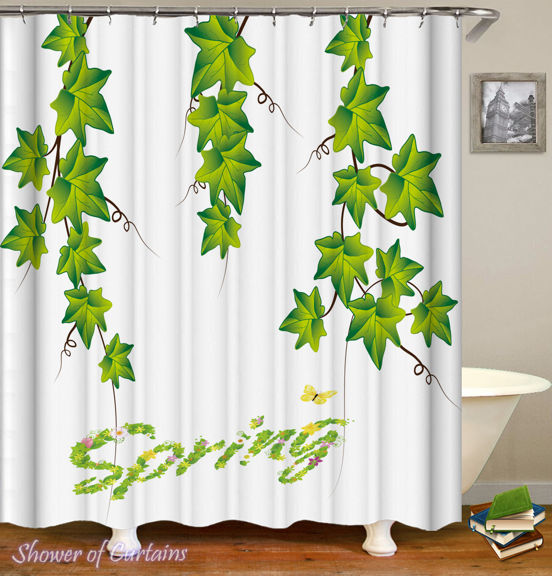 Shower Curtains | Spring Vine Leaves – Shower of Curtains