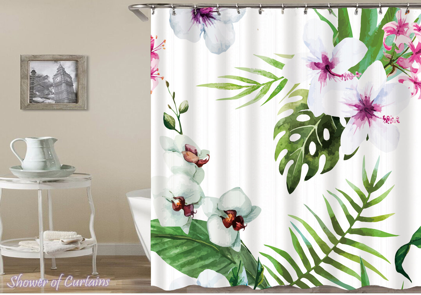 Shower Curtain Of Spring White Flowers Drawing