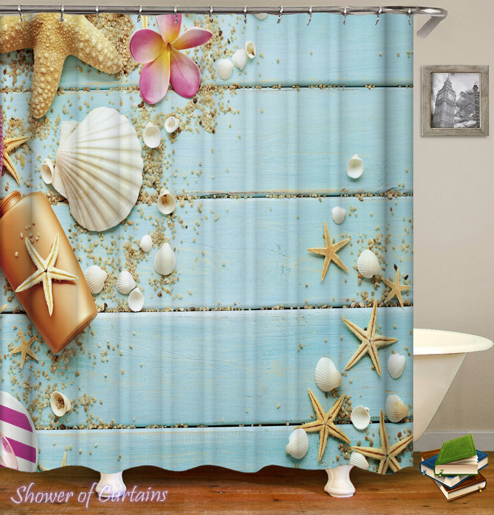Shower Curtain of Starfish and Shells On A Blue Deck