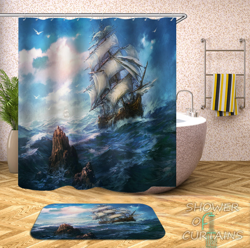 Shower Curtain of Stormy Ocean Sailing ship