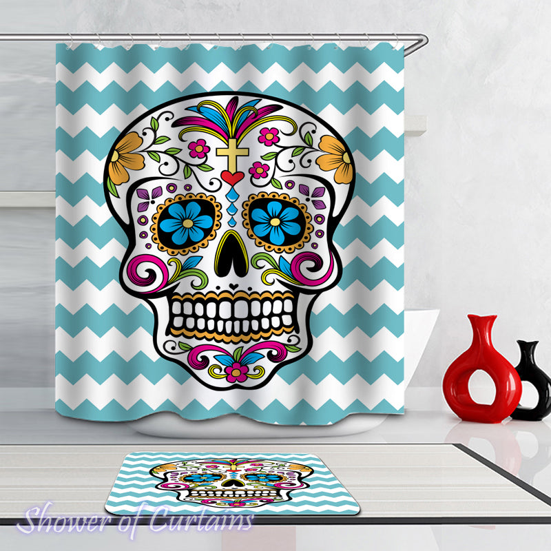 Shower Curtain of Sugar Skull Over Turquoise Waves