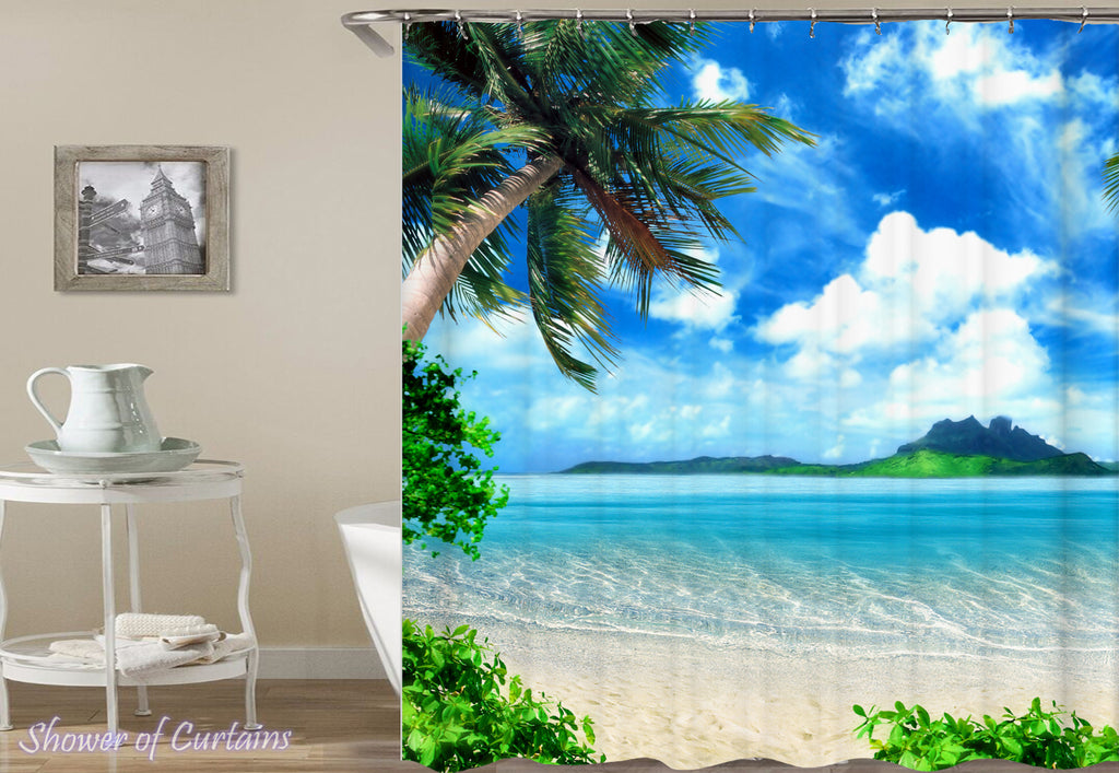 Shower Curtain of Tropical Island On the Horizon