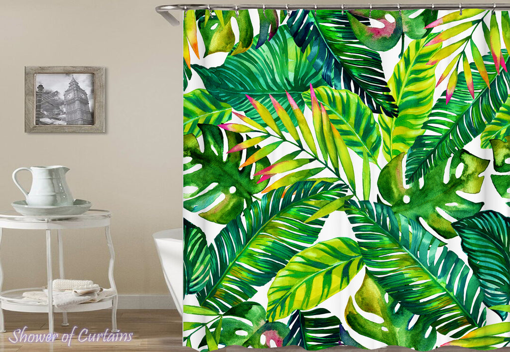 Shower Curtain of Tropical leaves