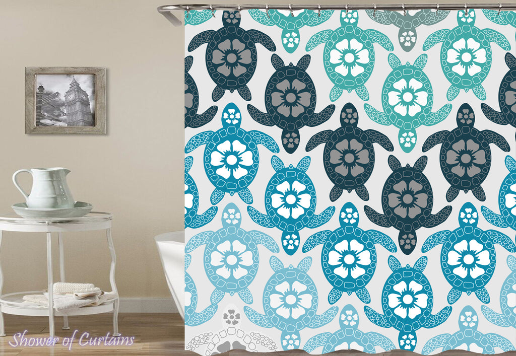 Shower Curtain of Turquoise Coloured Sea Turtles