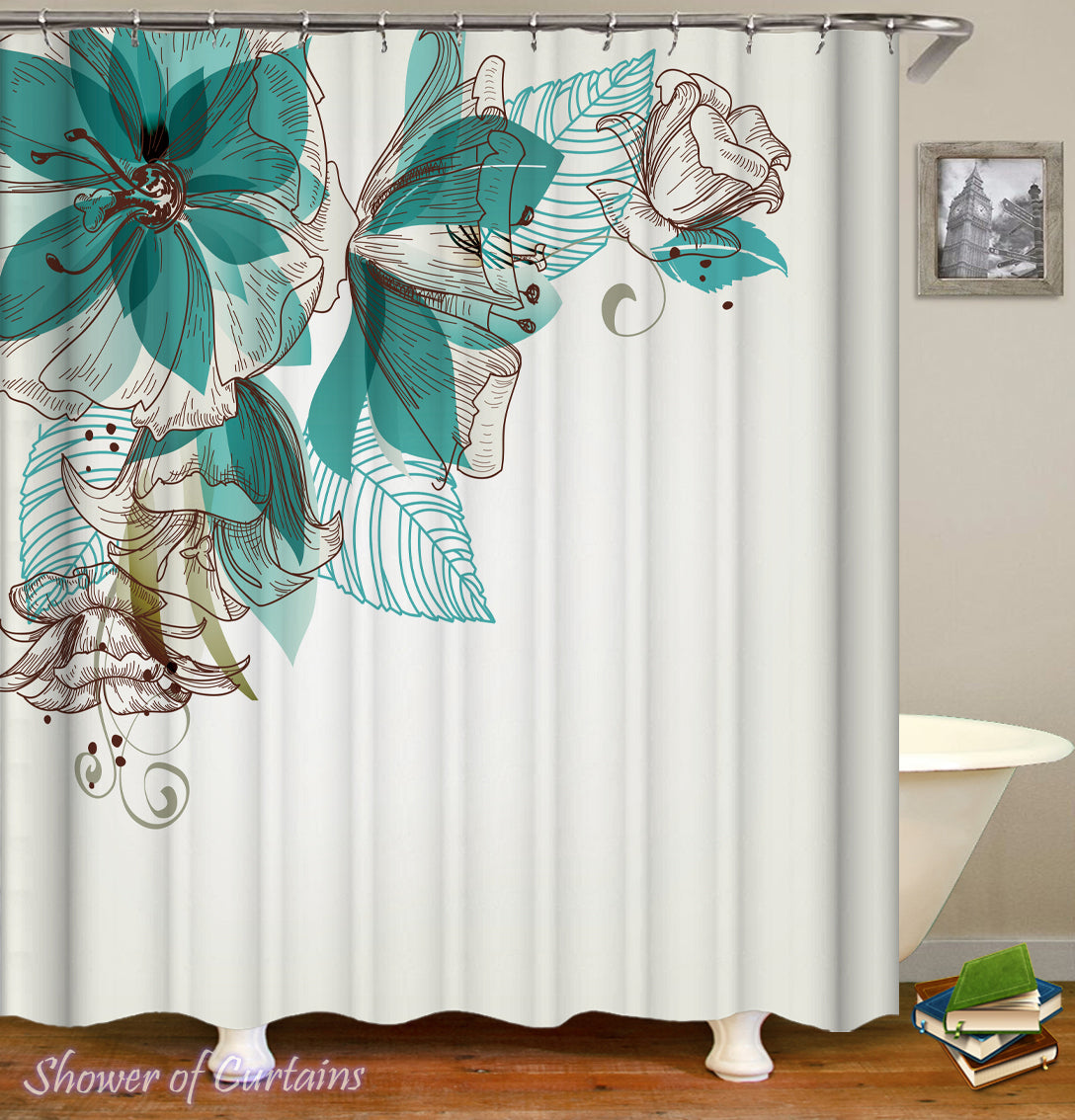 amazon bathroom x and ufaitheart inch shower curtain fabric set turquoise leaves for stall beige pattern fashion abstract curtains dp com brown