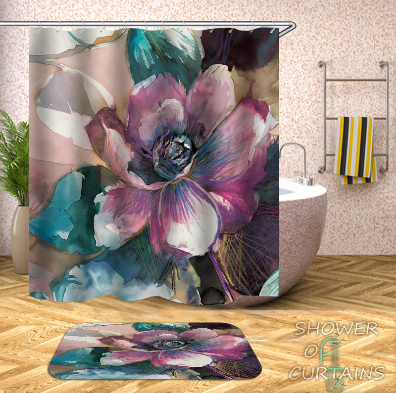 Shower Curtain of Water Painting Flower - Purple And Turquoise