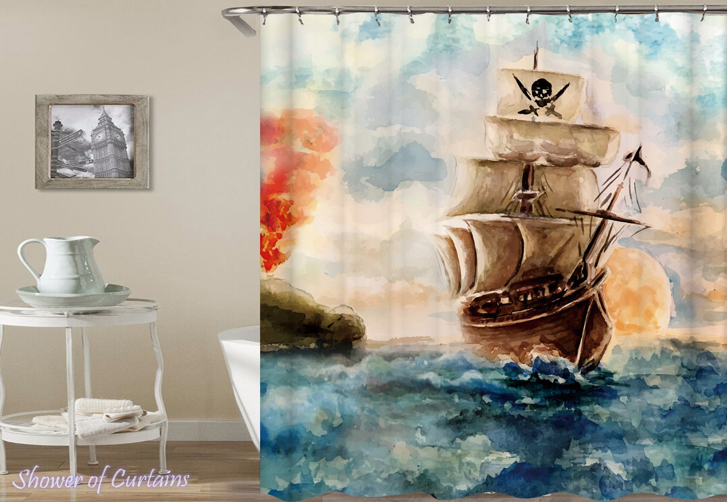 attractive Pirate Shower Curtain Part - 1: Shower Curtain of Water Painting Pirate Ship