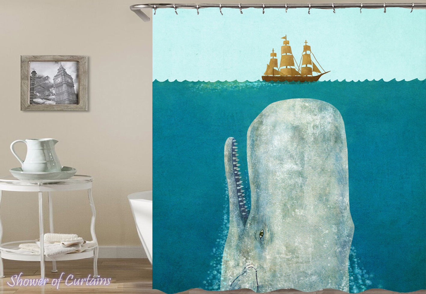 Shower Curtain Of Whale The Sea Monster