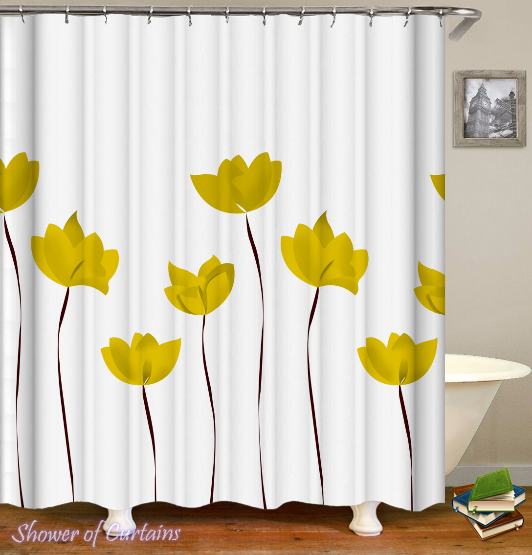 Shower Curtain Of Yellow Tulip Drawing