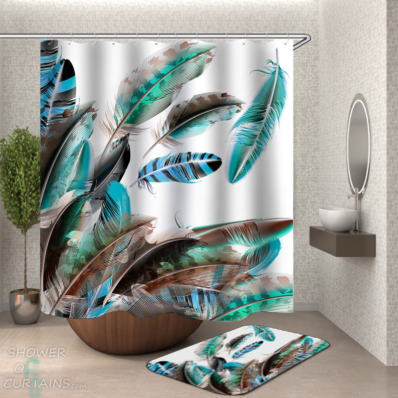 Shower Curtain with Turquoise Teal Feathers - Shower Curtains and Bath Mat Set