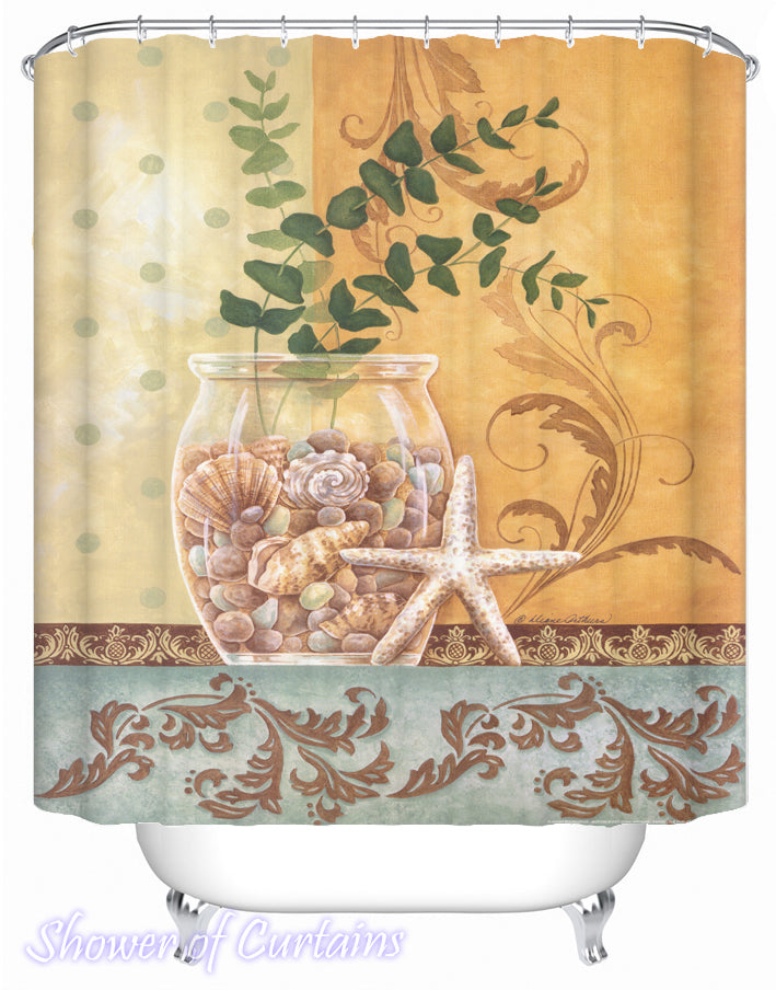 Shower Curtainf og Seashells Vase