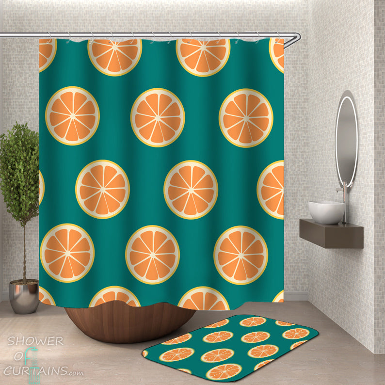 Shower Curtains - Teal And Orange Slices