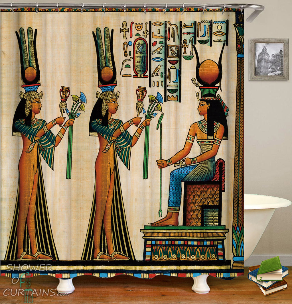 Shower Curtains Design of Egyptian Princess Colorful Painting