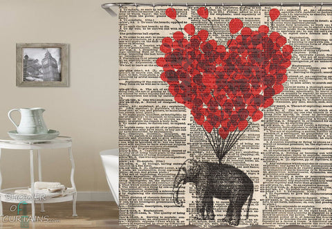 Shower Curtains Design of Elephant & Heart Shape Hot-Air Balloon