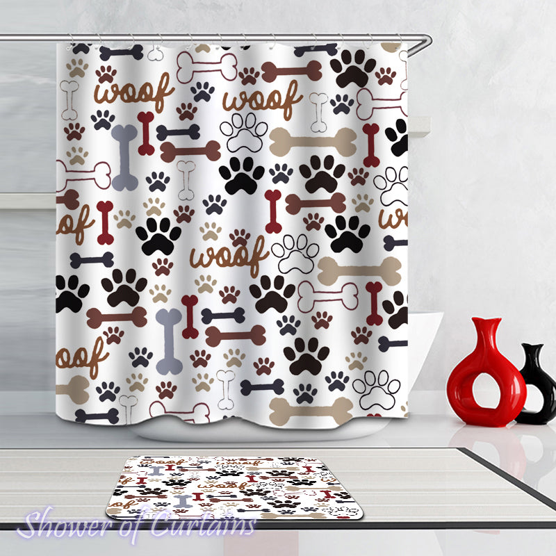 Shower Curtains Of Dog's Paws And Bones