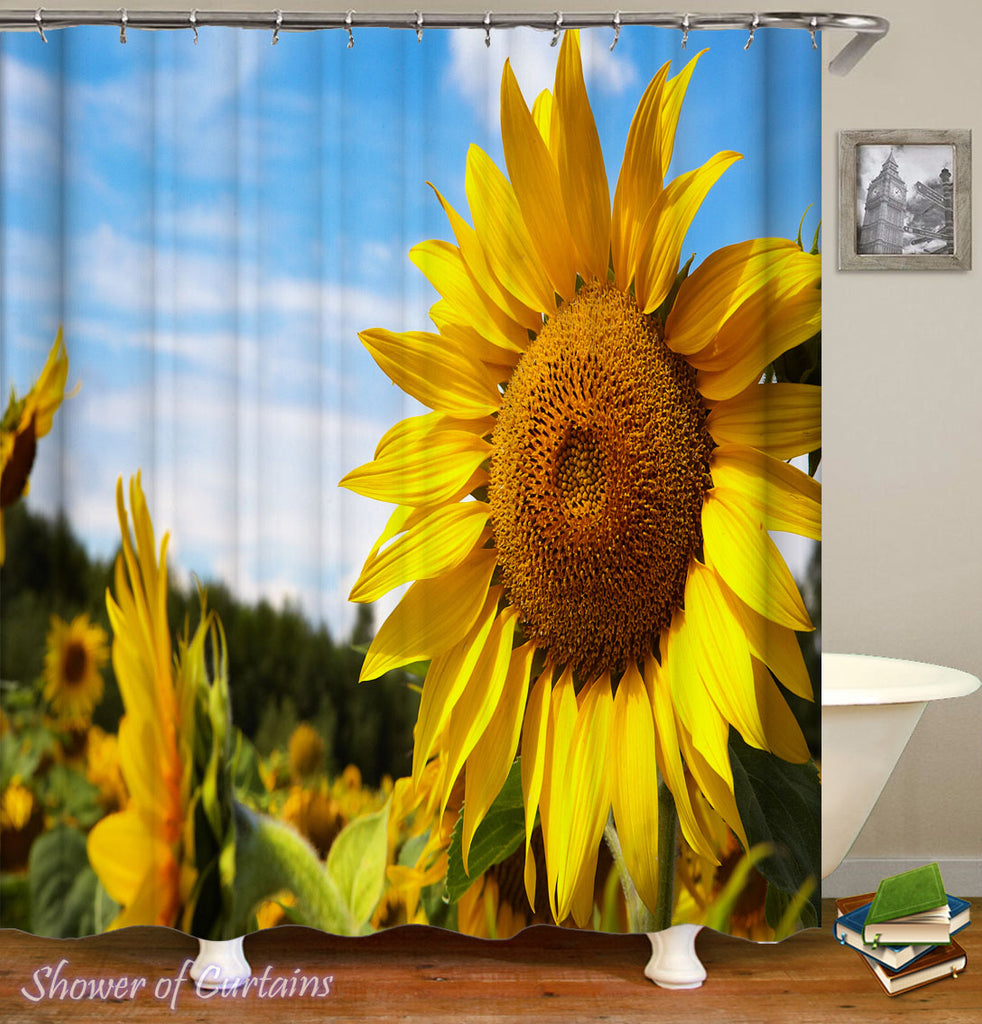 Shower Curtains Print of Gorgeous Yellow Sunflower Shower Curtain