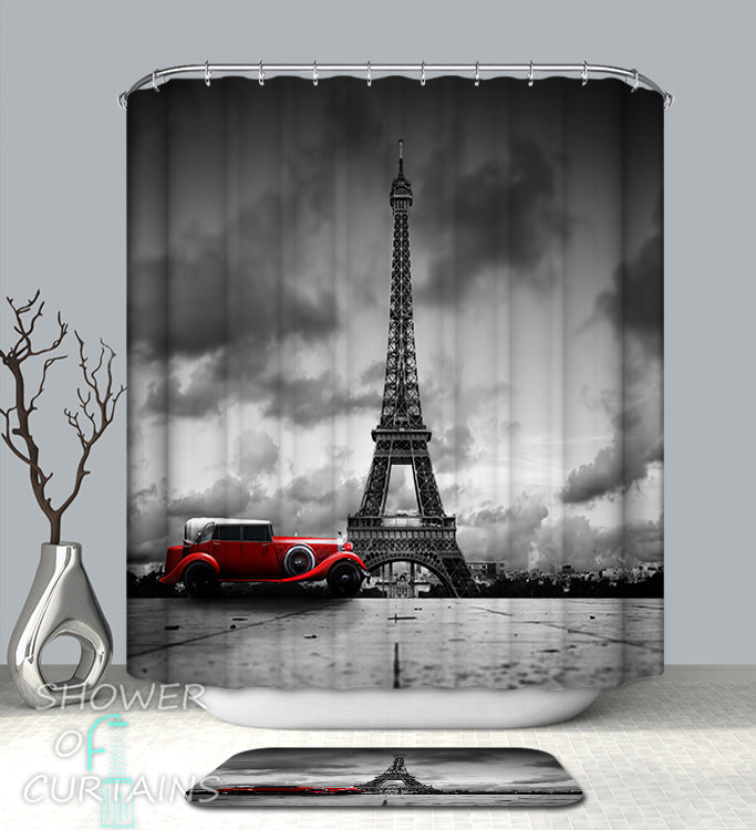 Shower Curtains Prints of Classic Car At The Eiffel Tower Shower Curtain