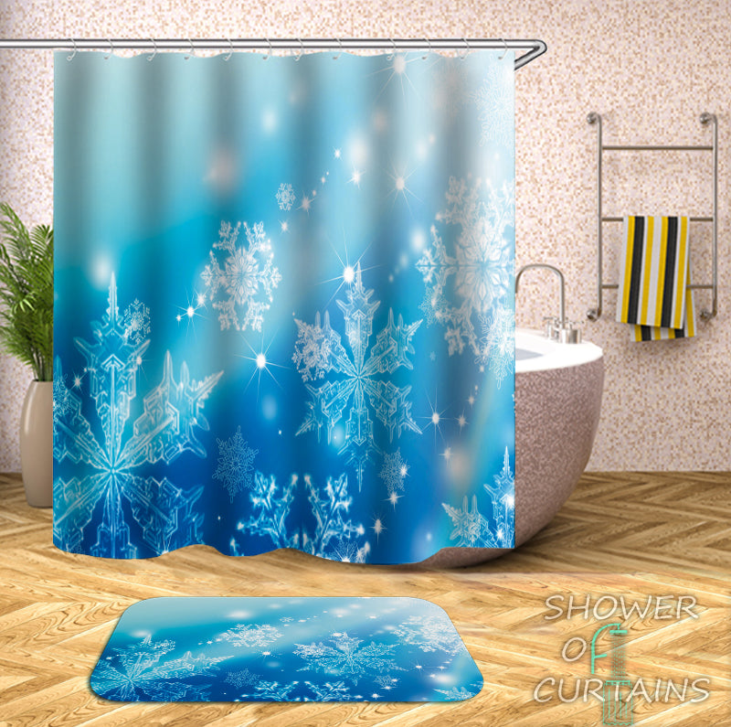 Shower Curtains Theme of Shiny Snowflakes