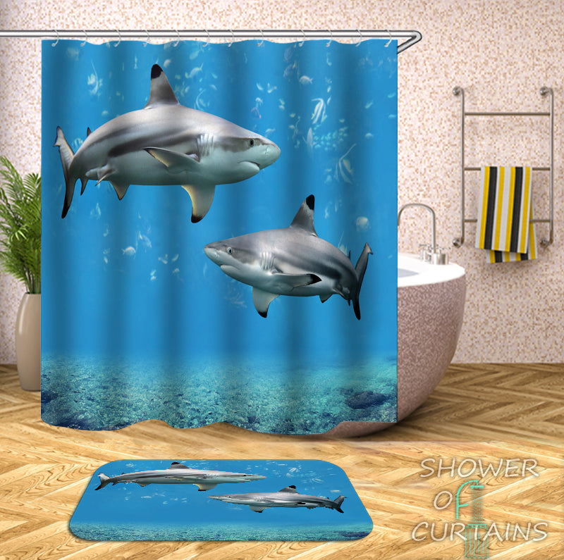 Shower Curtains With Shark Tank - Sharks Bath Mat