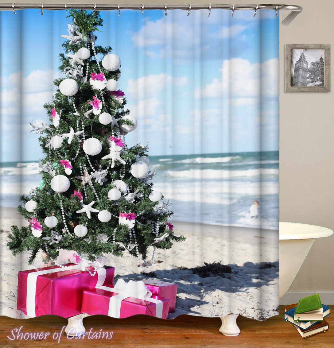 shower curtains design christmas spirit at the beach - Christmas At The Beach