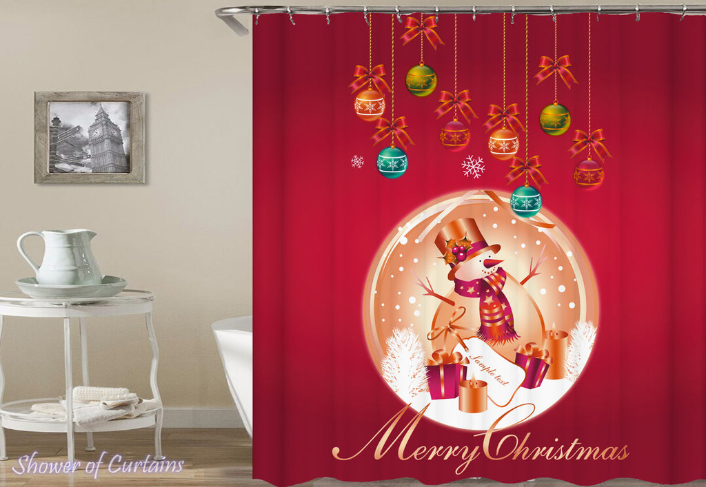 Shower Curtains for Christmas - Warm Red Merry Christmas