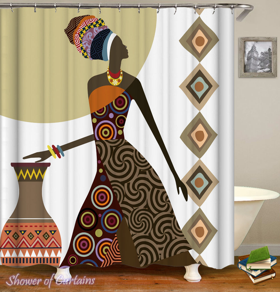 Shower Curtains of African Tribe Lady