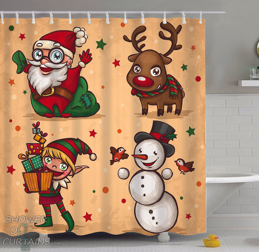 Shower Curtains of Christmas Characters Painting