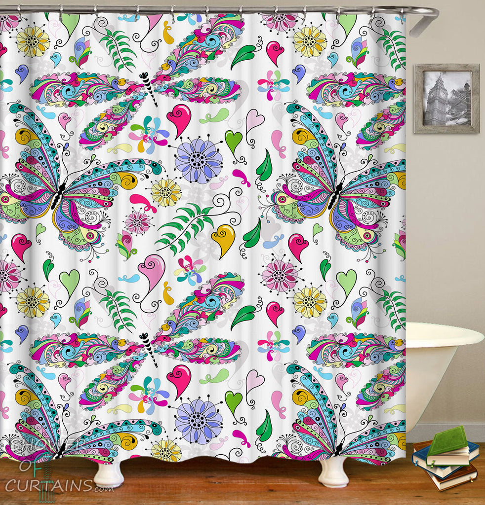 Shower Curtains of Colorful Butterflies And Dragonflies