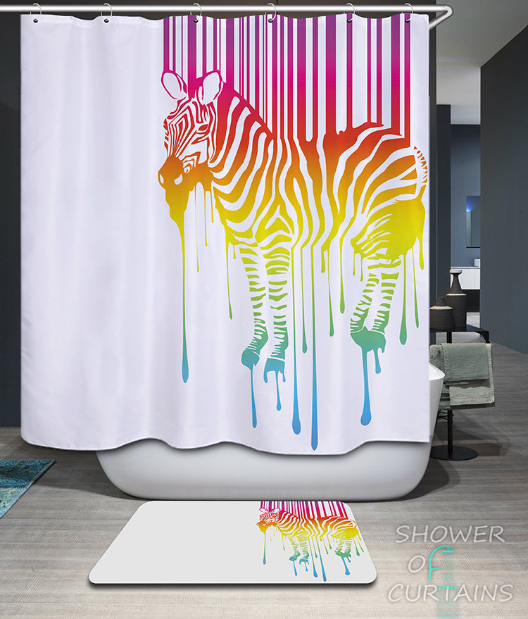Shower Curtains of Colorful Zebra