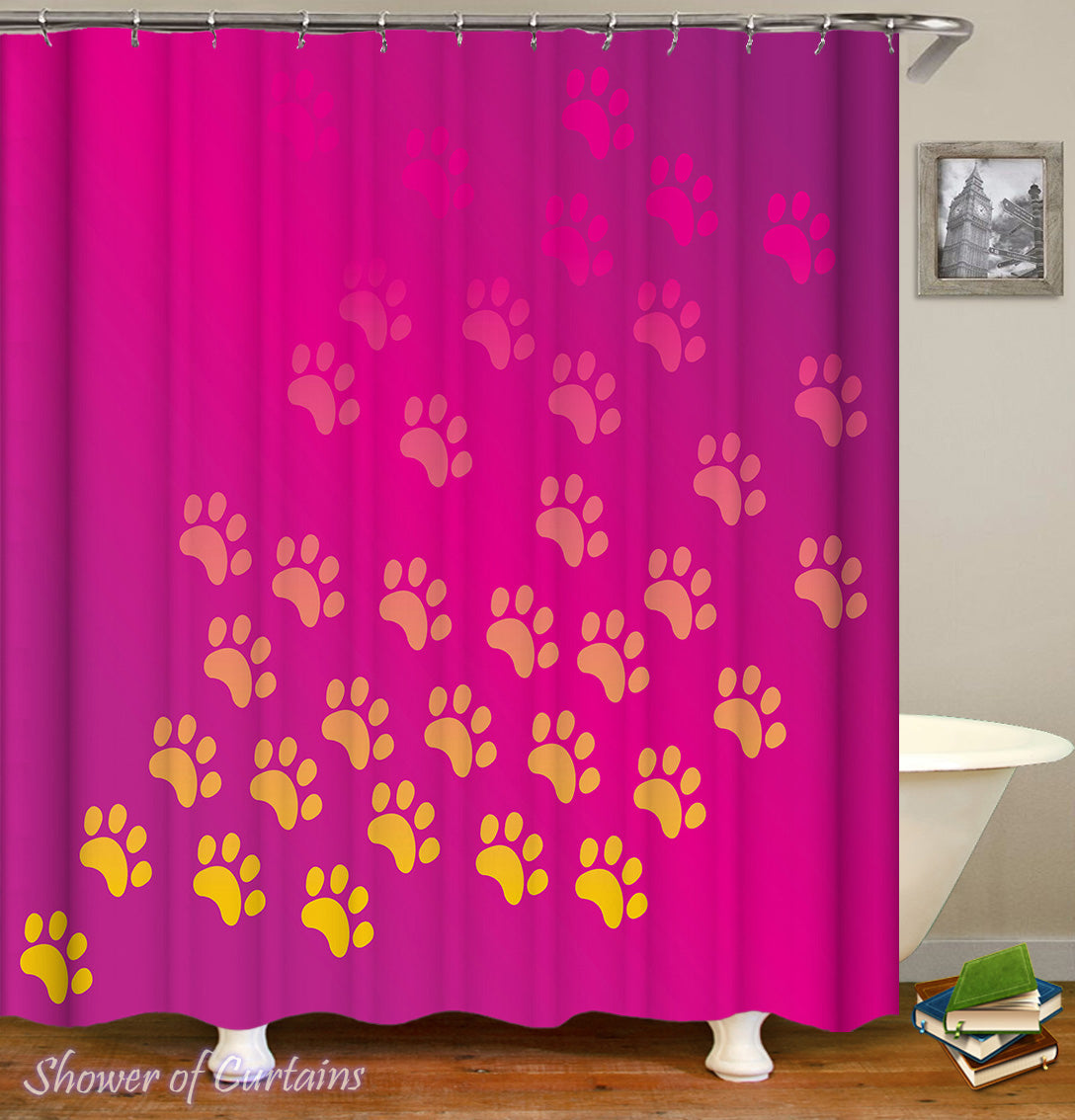 Shower Curtains Of Dog Paws Over Red Violet Curtain