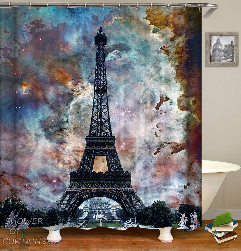 Shower Curtains of Eiffel Tower Over Magical Skies