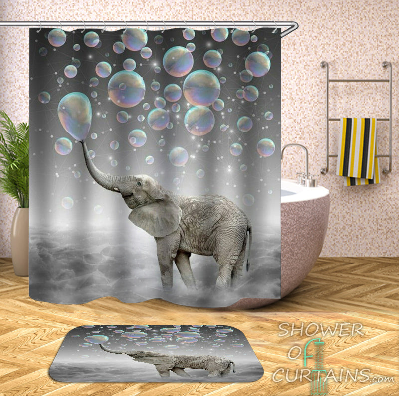 Shower Curtains of Elephant Playing Soap Bubbles