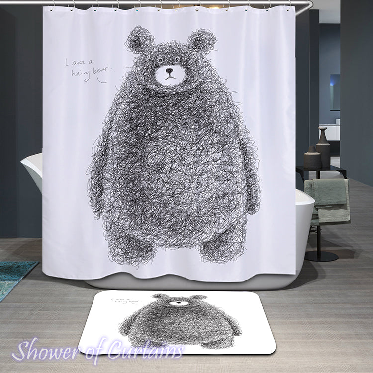 Funny Shower Curtain of Hairy Fat Bear