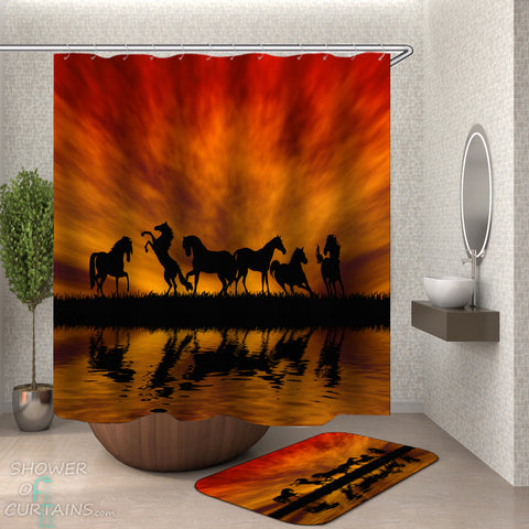 Shower Curtains of Horses - Twilight Horses silhouettes