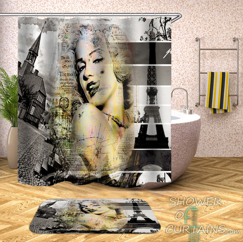 Shower Curtains of Marilyn Monroe In Paris