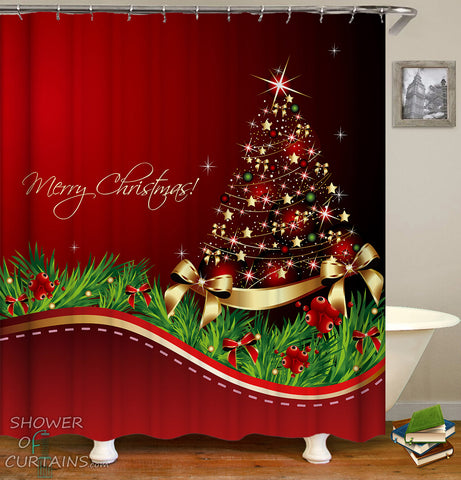 Shower Curtains of Merry Christmas Tree