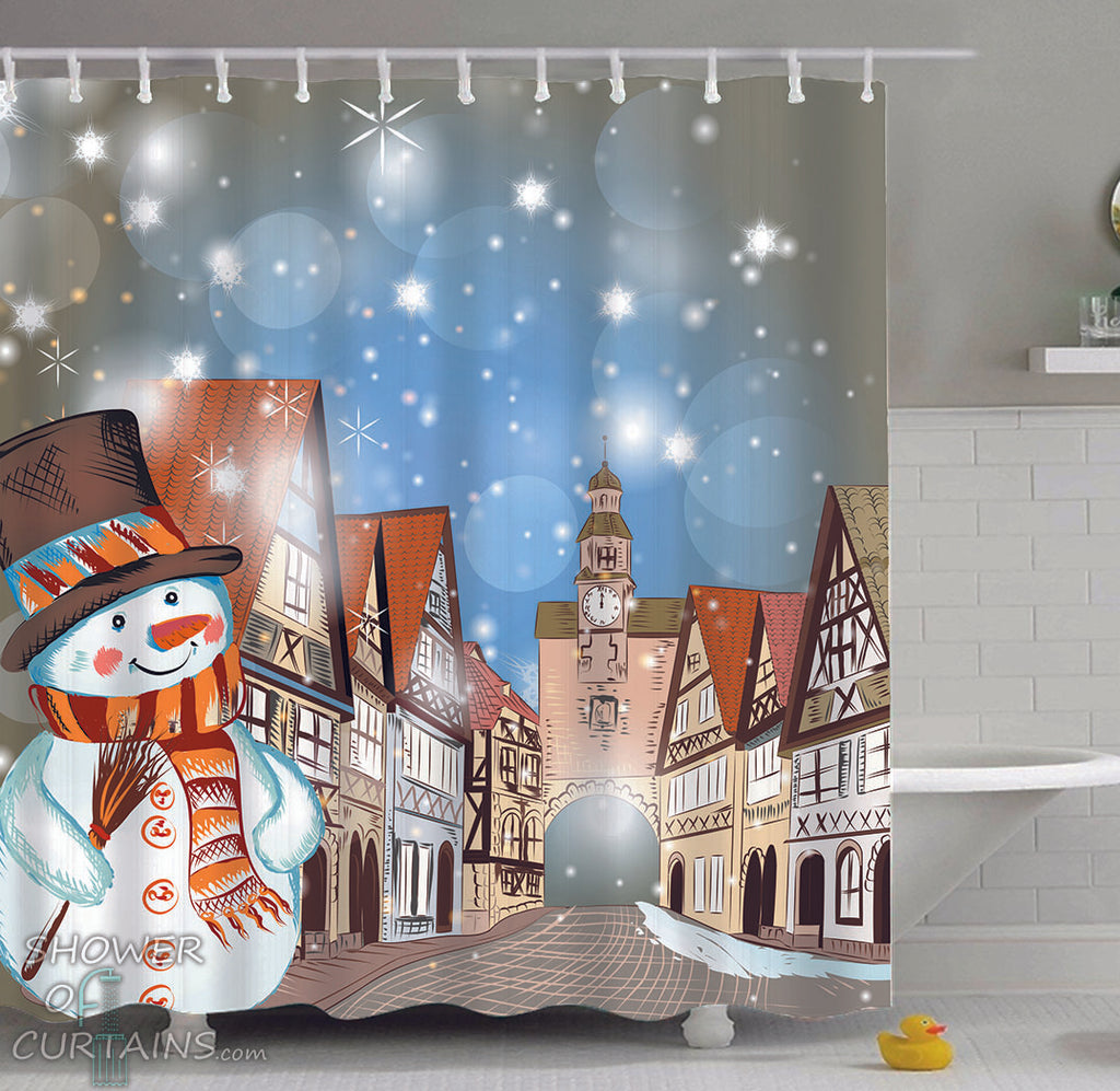 Shower Curtains of Old Town Christmas Spirit