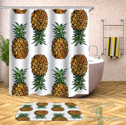 Shower Curtains of Pineapple Pattern