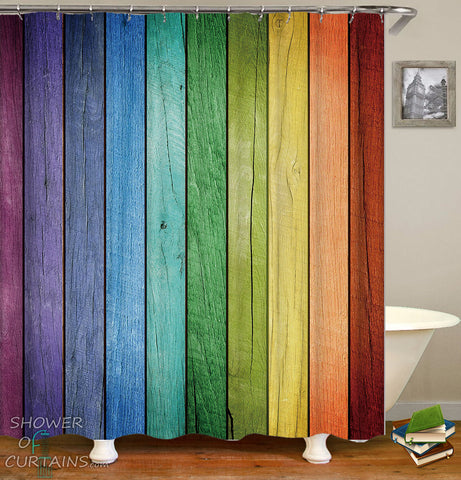 Shower Curtains of Rainbow Wooden Deck