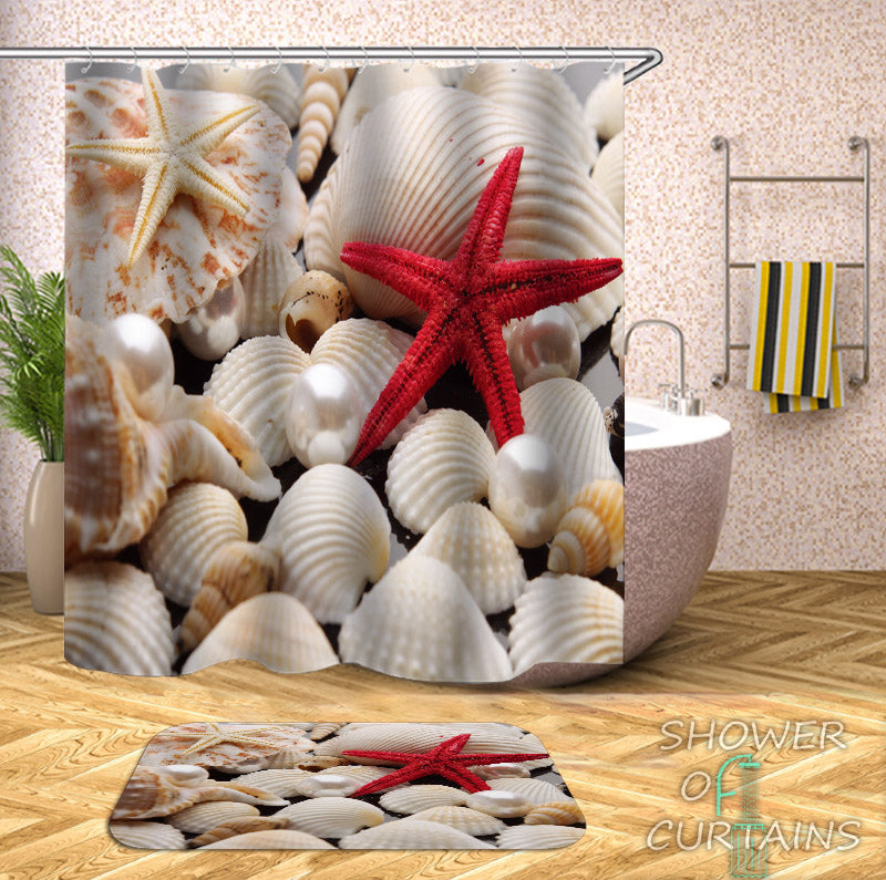 Shower Curtains of Red Starfish And Shells - Shelles Bathroom Decor