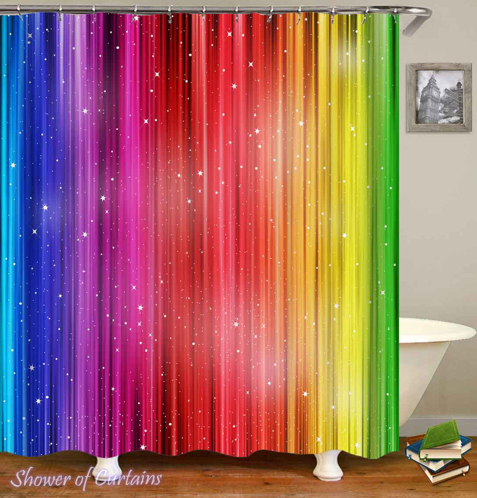Shower Curtains of Shining Rainbow Colors
