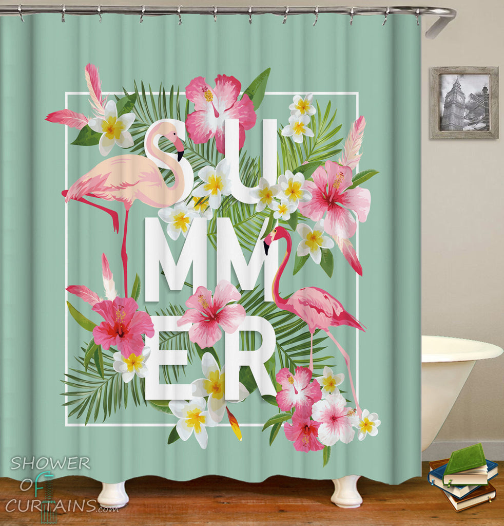 Shower Curtains of Summer Vibes Flamingo Shower Curtain