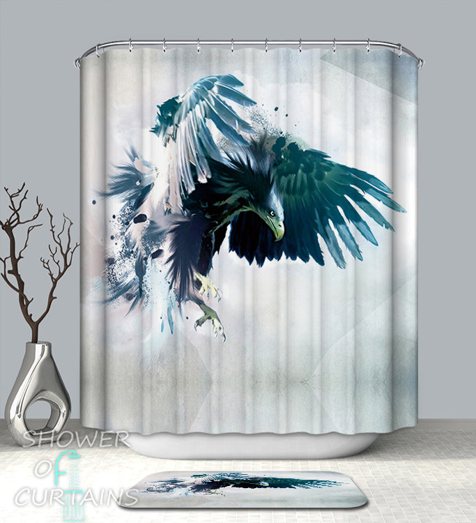 Turquoise Shower Curtain Eagle