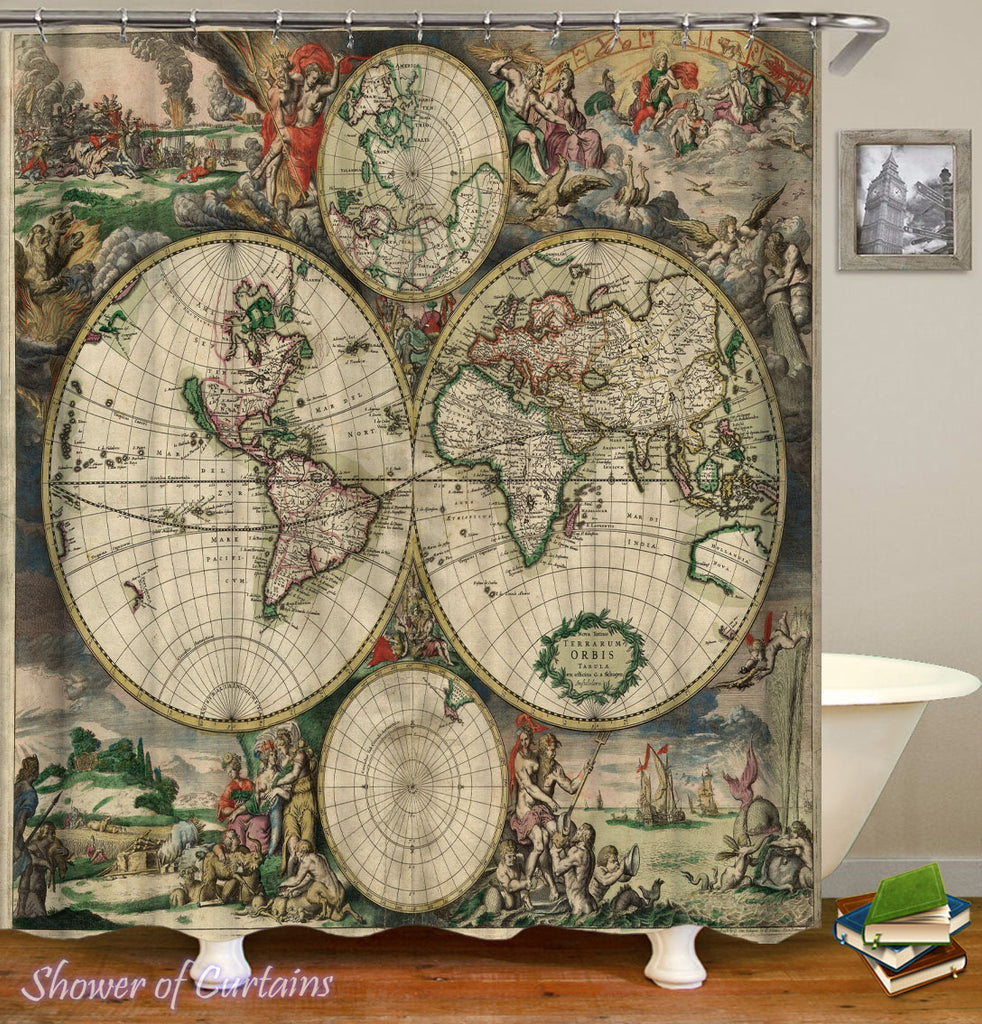 Shower Curtains of Vintage Globe Cut