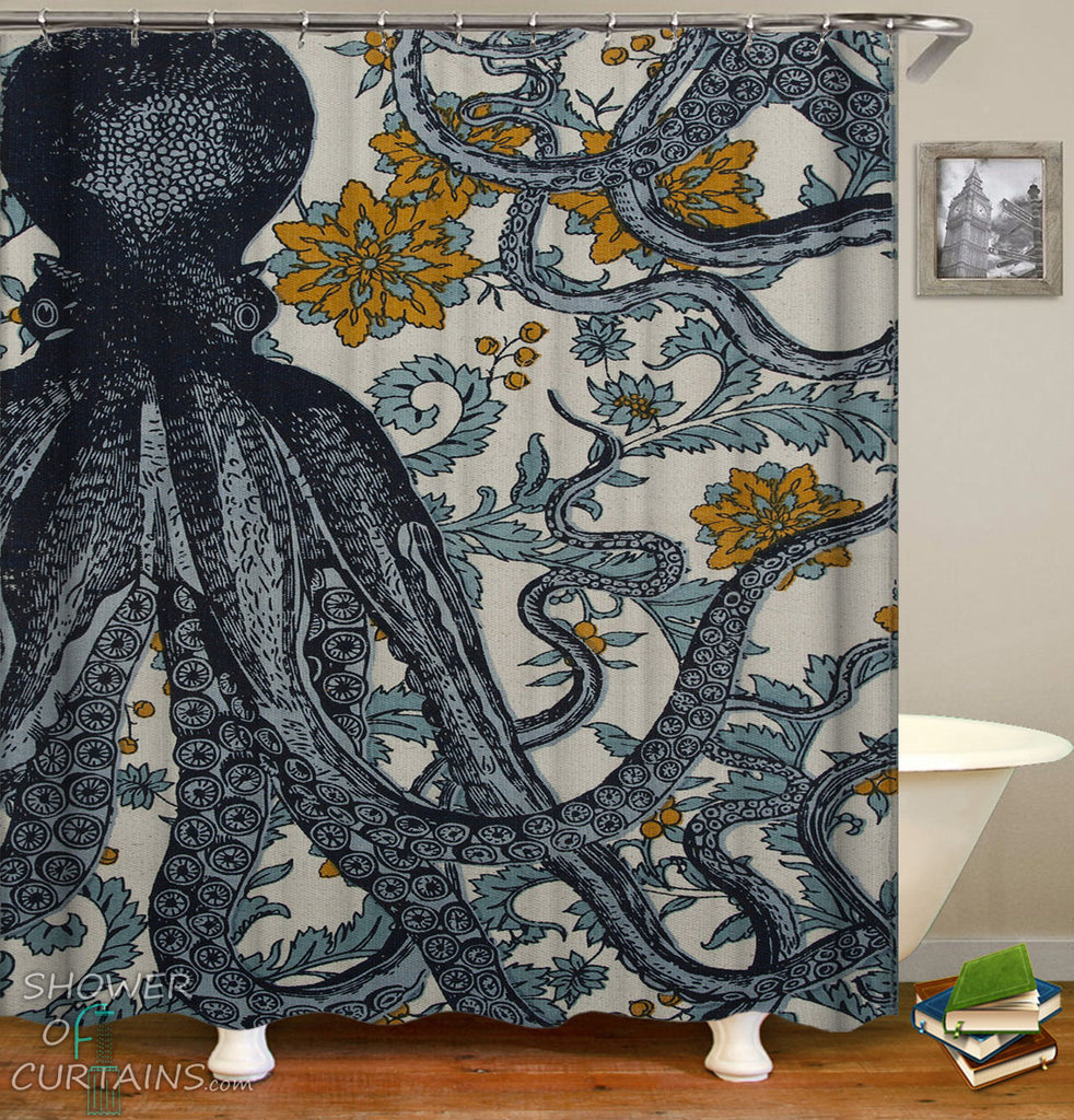 Shower Curtains of Vintage Octopus Flowery Background