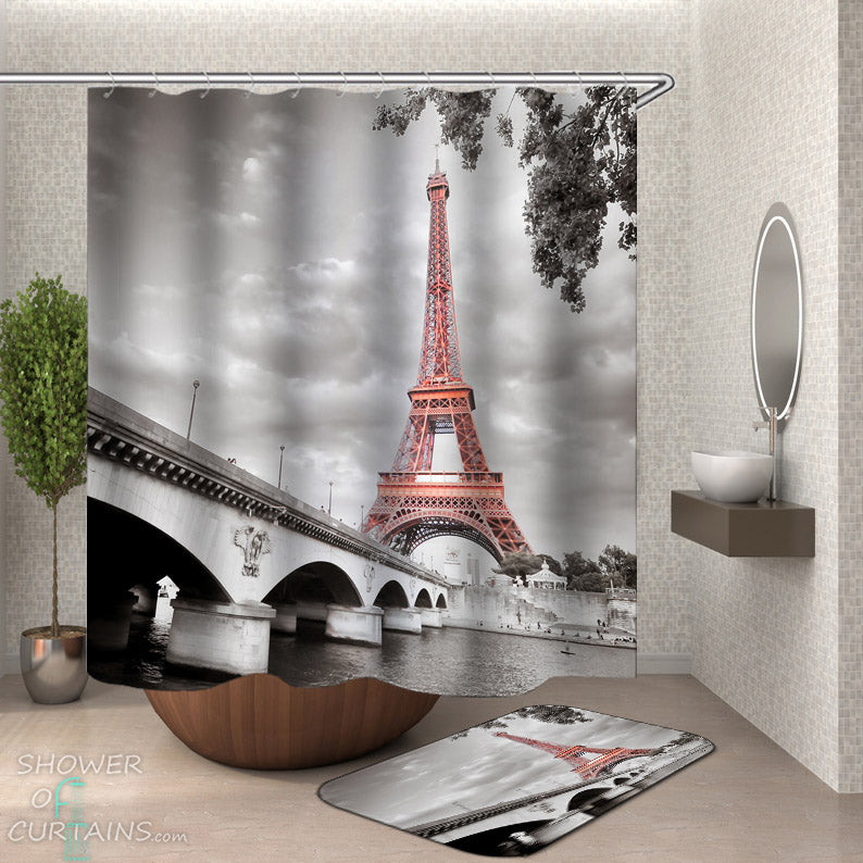Shower Curtains of the Eiffel Tower Artistic Picture