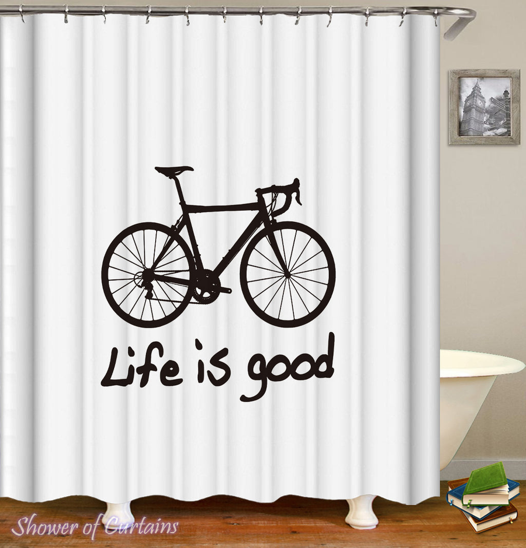 Shower Curtin Of Bicycle Life